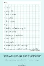 printable planner notes lists to make in your planner free notes page clean mama