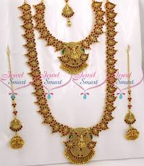 wedding earring necklace set images Br9043 bridal temple mango jewellery set red kemp stones JPG