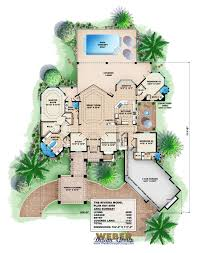 Floor Plans With Porte Cochere Riviera House Plan Waterfront Golf Course Home 3bed 4bath Pool