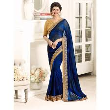 beautiful blouses navy blue color designer beautiful georgette saree with blouse
