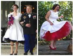 tea length wedding dress with colored petticoat overlay wedding