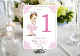 pink gold baby shower princess baby pink gold baby shower table number cards