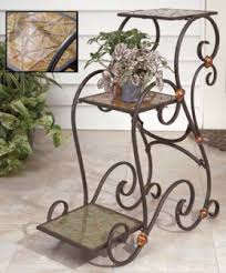 wrought iron step shaped 3 tier plant stand plantstands