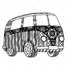 hippie van drawing hippie vintage auto u2014 stockvector frescomovie 122369302