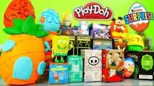 play doh surprise eggs spongebob squarepants toys kinder joy dctc