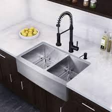 kitchen faucet black finish vigo 33 inch farmhouse stainless steel silver 16