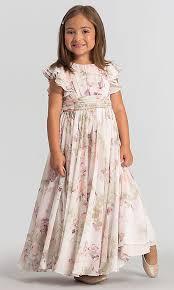 flutter style dress dessy girl print flutter sleeve flower girl dress