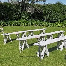 Whitewash Bench Whitewash Wooden Trestle Bench Seats Wedding And Event Hire Auckland