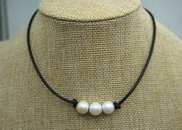 freshwater pearl necklace choker images Three pearl necklace leather pearl choker pearl leather etsy jpg