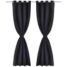 Blackout Curtains Black Convenience Boutique 2 Pcs Black Blackout Curtains With Metal