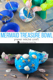 mermaid paper mache bowls sensory craft for kids