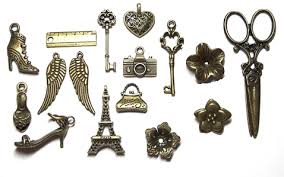 sweet small a set of antiqued bronze charms for jewelry