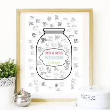 wedding wish jar wedding guest book poster wish jar personalised poster print in 3