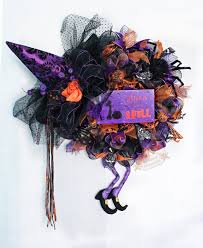 Witch Wreath Halloween by Witch Wreath Purple Witch Wreath Purple Orange Witch Wreath