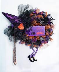 Witch Wreath Halloween Witch Wreath Purple Witch Wreath Purple Orange Witch Wreath