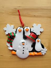 family of 3 with snowman personalised christmas tree decoration