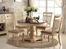 Pedestal Dining Table Dining Table Set 5pc Antique White Wash Cherry Finish Wood Round