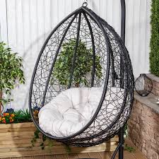porto steel u0026 polyrattan hanging egg chair