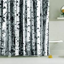 Black And White Blackout Curtains Nordic Shower Curtain Polyester Birch Rustic Modern Minimalist