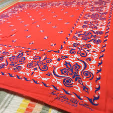 1960 u0027s blood orange dark blue rare fast color bandana 21x21 5 worn
