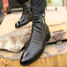 mens brown leather motorcycle boots shoes eco picture more detailed picture about cool fashion punk