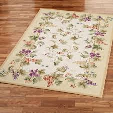 Area Rugs With Purple Vining Grapes Wool Area Rugs
