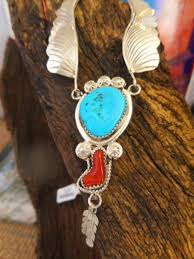 silver turquoise necklace images Native american handmade turquoise coral 925 silver necklace JPG