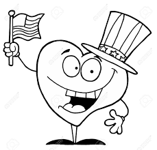 black and white coloring page outline of a heart uncle sam royalty