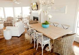 Salvaged Wood Dining Table With White Wicker Dining Chairs - Wooden dining table with wicker chairs