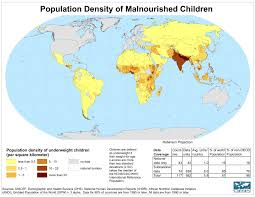 Population Map Population Density Of Underweight Children World Map World U2022 Mappery