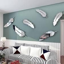 stickers muraux pour chambre mur de plume autocollant diy miroir décoration stickers pour