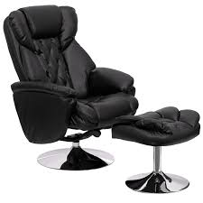 Black Leather Recliner Transitional Black Leather Recliner And Ottoman With Chrome Base