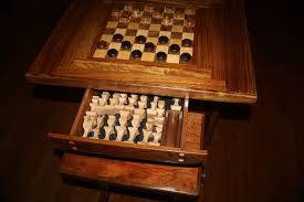 custom chess table and benches w chessmen and checkers by ltl