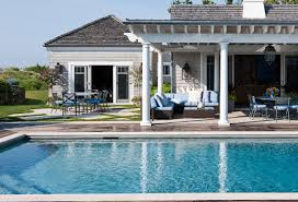 Pergola Off House by A Picture Perfect Hamptons Style Pool And Pergola