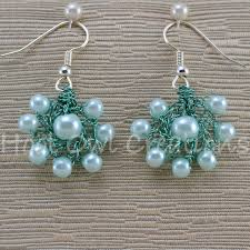 cluster earrings cyan pearl cluster earrings hoot owl creations