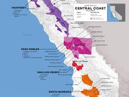 Map Of Napa Valley Central Coast Wine The Varieties And Regions Wine Folly
