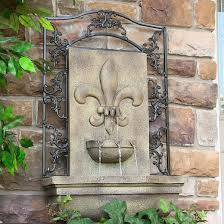 sunnydaze french lily solar outdoor wall fountain includes solar