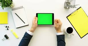 Office Table White Png Business Man Using Tablet Device With Green Screen On White Office