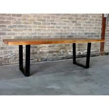 U Shaped Table Legs Straight Cut Acacia Wood Table With Black U Shaped Legs Natural