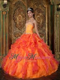 orange quinceanera dresses orange a line princess sweetheart floor length ruffles organza