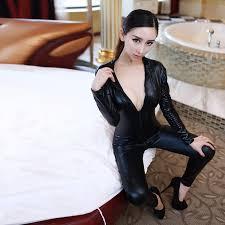 womens black costumes wet look zipper front cat suit lingerie