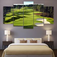 Fairway Home Decor by 5 Piece Golf Course Green And Fairway Sandtrap Wall Art Canvas