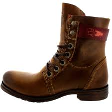 ladies brown biker boots womens fly london stay military biker lace up buckle leather ankle