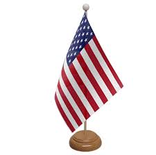 usa table flag with wooden base