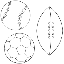 baseball football soccer ball coloring page adorable things