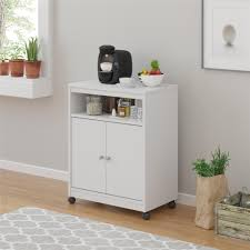 furniture small microwave carts in white with 2 doors for kitchen