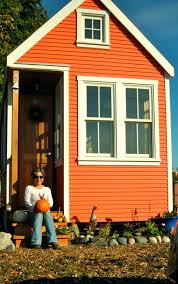 Lovely Orange Wall Front Exterior Painted Small Houses With Double
