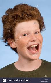 boys with big foreheads hair redhead freckled boy 14 with big hair big smile stock photo