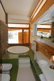 bathroom round bathtub in narrow bathroom with panel wood common