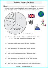 grade 6 pie and circle graph worksheets with sixth grade math